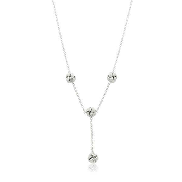 Gioelli Sterling Silver Love Knot Lariat Chain Necklace