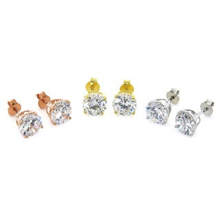 Eternally Haute Sterling Silver 7ct TGW Cubic Zirconia Stud Earrings