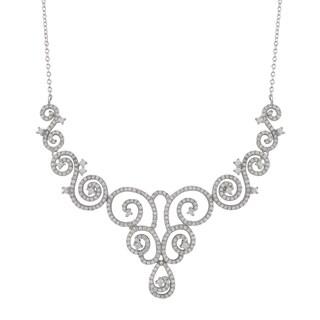Sterling Silver Cubic Zirconia Wedding Filigree Bib Necklace