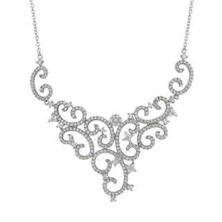 Sterling Silver Cubic Zirconia Wedding and Bridal Filigree Bib Necklace