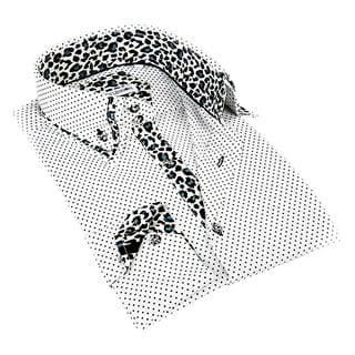 John Lennon Men's White and Leopard Contrast Sport Shirt