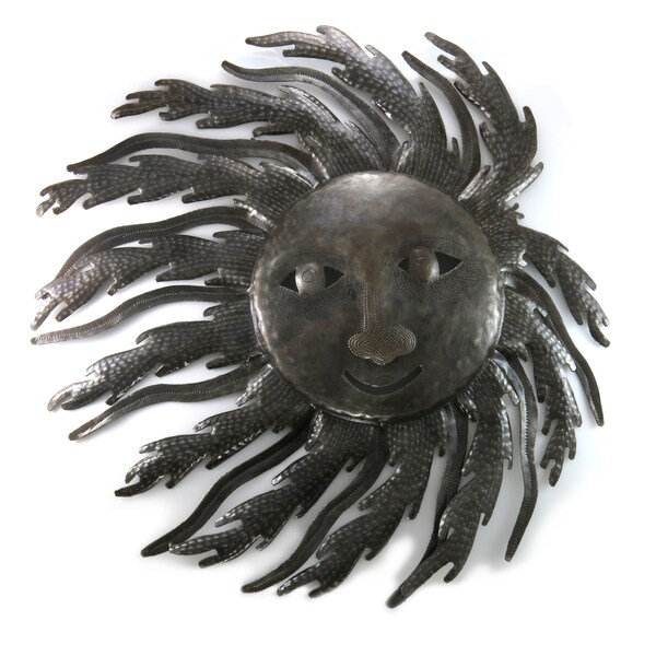 Handcrafted Recycled Steel Drum Blustery Sun Wall Art (Haiti)