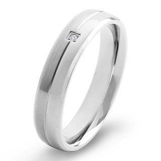 Crucible Dual Finish Titanium 0.02 CTTW Diamond Grooved Comfort Fit Ring - 5mm Wide