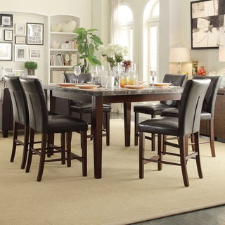 TRIBECCA HOME Colyton Black Brown Marble Top 7-piece Counter Height Dining Set