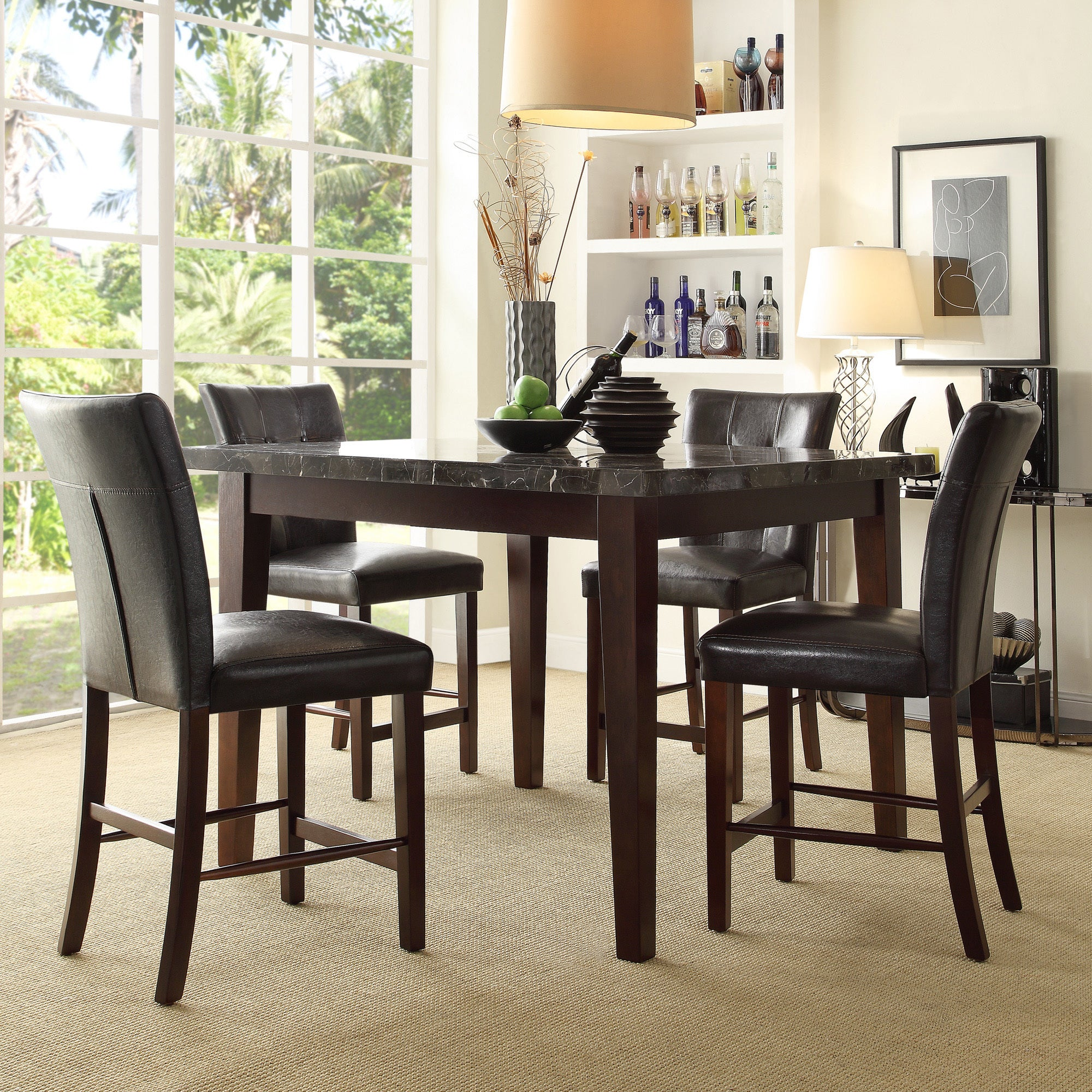 TRIBECCA HOME Colyton Black Brown Marble Top 5-piece Counter Height Dining Set at Sears.com