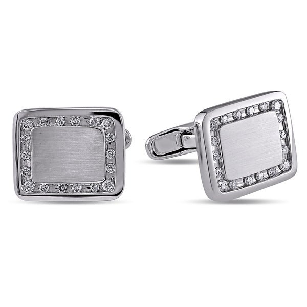 14k White Gold 1/2ct TDW Diamond Men's Cufflinks (H-I, I1-I2)