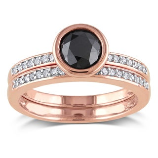 Miadora 10k Rose Gold 1 1/8ct TDW Black and White Diamond Bridal Ring Set (H-I, I2-I3)