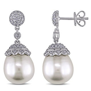 Miadora Signature Collection 14k White Gold South Sea Pearl and 1/2ct TDW Diamond Earrings (G-H, SI1-SI2)