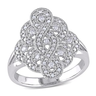 Haylee Jewels Sterling Silver 1/4ct TDW Diamond Cocktail Ring (H-I, I2-I3)