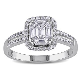 Miadora Signature Collection 18k White Gold 3/4ct TDW Diamond Composite Engagement Ring (G-H, SI1-SI