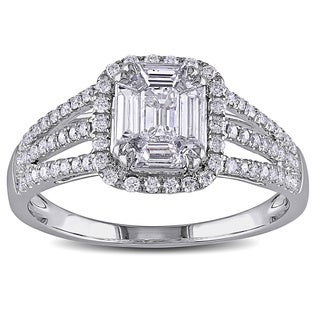 Miadora Signature Collection 18k White Gold 4/5ct TDW Diamond Composite Engagement Ring (G-H, SI1-SI2)