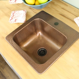 Highpoint Collection 15 inch Square Hammered Topmount Bar / Prep Sink Drain Set in Copper