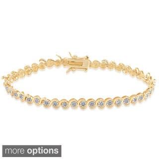 Finesque Sterling Silver Diamond Accent Link Bracelet