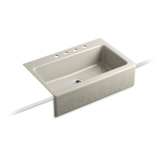 Kohler Dickinson Tile-in Cast-Iron 22-1/8 x 33 x 8.75 4-hole Single Bowl Kitchen Sink in Sandbar
