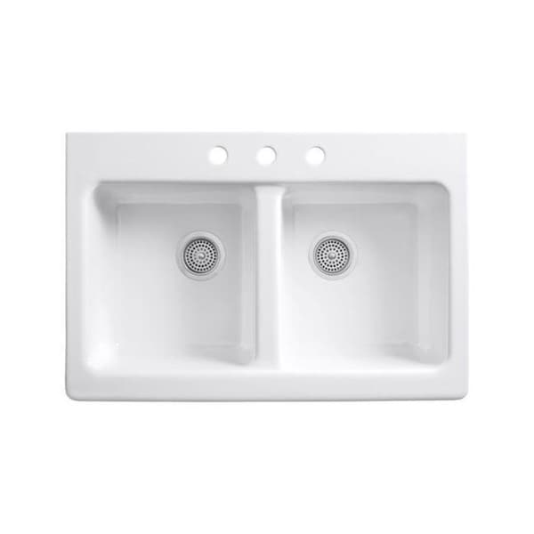 White Double Kitchen Sink : Tile-In Cast Iron 22 x 33 x 8.625 Double Bowl Kitchen Sink in White ...