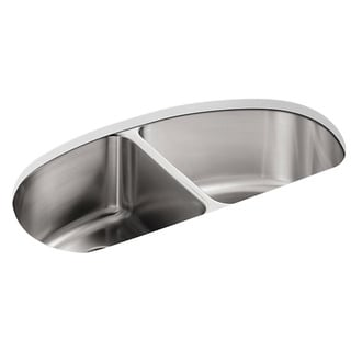 Undertone Undermount Stainless Steel 34.56 x 18.5 x 9.5 0-hole Double Bowl Kitchen Sink