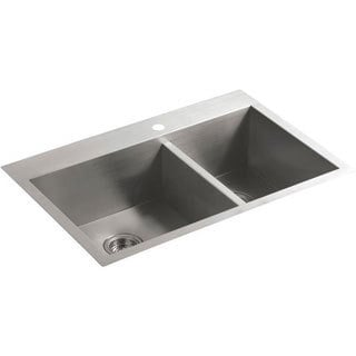 Vault Offset Self-rimming/ Undercounter Stainless Steel 33 x 22 x 9.3125 1-hole Kitchen Sink
