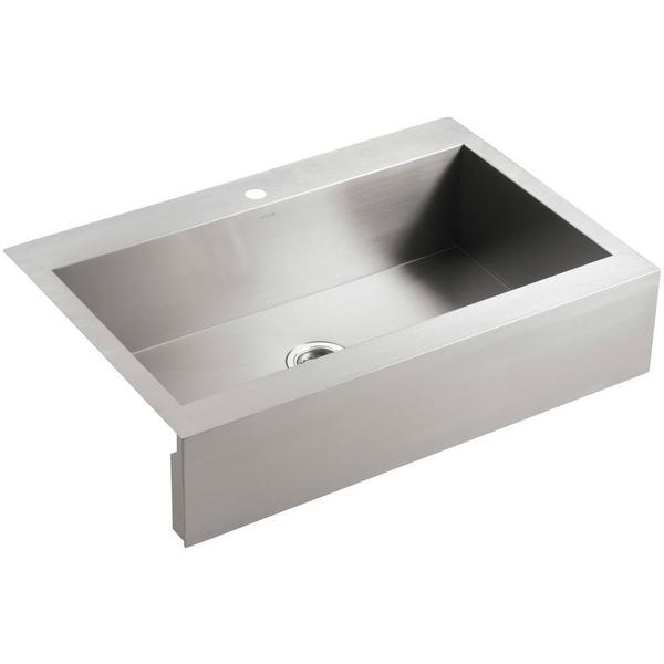 Kohler Vault Top-Mount Cast Iron 35-3/4 x 24-5/16 x 9-5/16 1-hole Single Bowl Kitchen Sink in Stainless