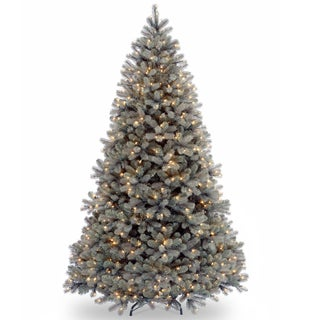"7.5-foot ""Feel-Real"" Downswept Douglas Blue Fir Hinged Tree with 750 Clear Lights"