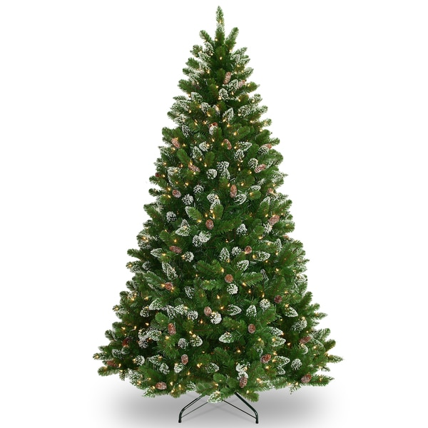 7.5-foot Crystal Spruce Tree with Glitter, Pine Cones, and 700 clear Lights