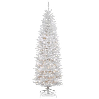 7-foot Kingswood White Fir Hinged Pencil Tree with 300 Clear Lights - 7'