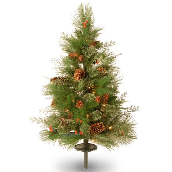 30 inch Decorative Collection White Pine Pathway Tree with Battery