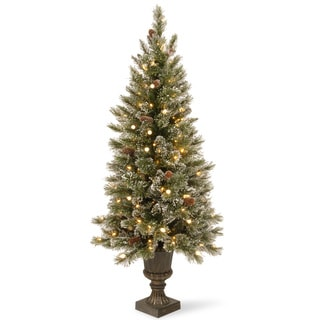 4-foot Glittery Bristle Entrance Tree with Warm White LED Lights