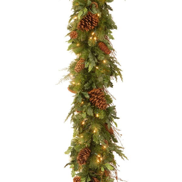 Decorative Collection Juniper Mix Pine Garland with 100 Clear Lights