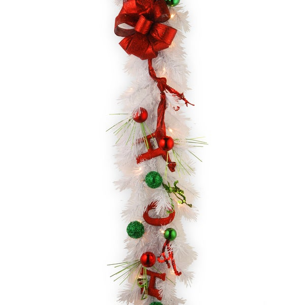 Decorative Collection HO HO HO Garland with Oraments and 50 Warm White Battery Operated Lights