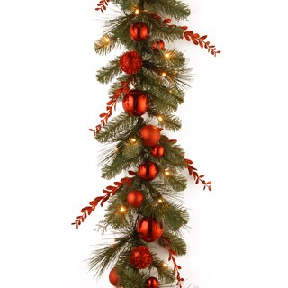 """9' x 12"""" Decorative Collection Christmas Red Mixed Garland with 50 Soft White Battery Operated LEDs"""