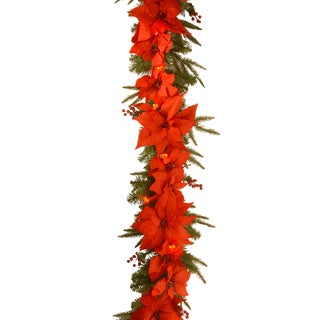 PT13-302L-6B-1 Poinsettia Garland with Lights