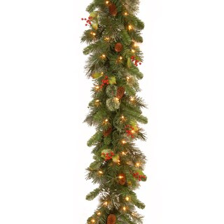 9-foot Wintry Pine Garland with Cones, Red Berries, Snowflakes, and 100 Clear Lights