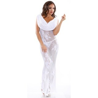 Fantasy Lingerie Women's Versatile Floral White Lace Cowl Neck Gown with Matching G-string (One Size)
