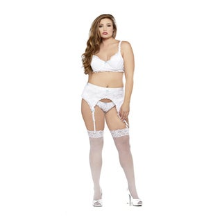 Fantasy Lingerie Women's Plus 3-piece Demi Bra/ Garter Belt/ Panties Set