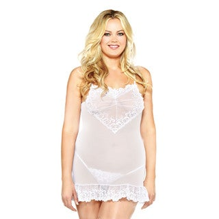 Fantasy Lingerie Women's Plus Embroidered Chemise and G-String