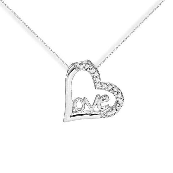 10k White Gold Love Heart Diamond Accent Chain Pendant Necklace
