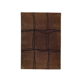 Hand-tufted Amst Wool Brown Rug (4'6 x 6'6)