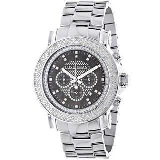 Luxurman Men's Oversized 1/4ct TDW White Diamond Chronograph Watch