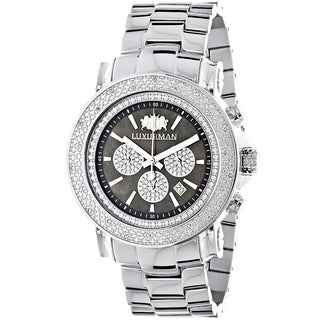 Luxurman Men's Large Face 1/4ct White Diamond Chronograph Watch with Metal Band and Extra Leather Straps