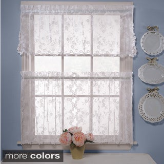 Lace Flowers Window Tier and Valance Curtain Set