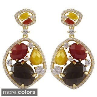Gold Over Sterling Silver Multicolored Semi-precious Stone and Cubic Zirconia Earrings