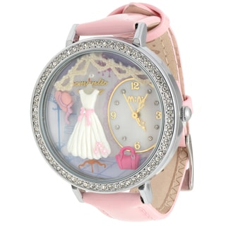 JWI Women's Pink Leather and Stainless Steel Caseback 3D Dress Watch