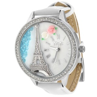 JWI Women's White Leather and Stainless Steel Caseback 3D Eiffel Tower Watch