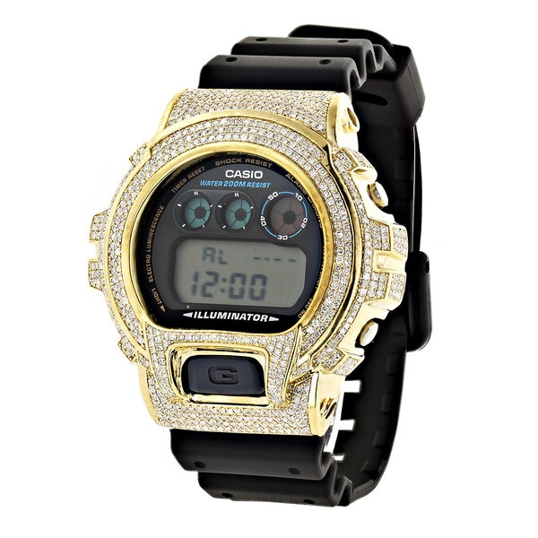 Custom G-Shock Men's Yellow DW-6900 5 1/4ct TDW White Diamond Watch