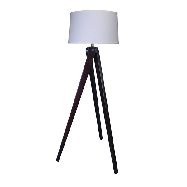 Mr. Lamp and Shade # QF to 1646 60-inch Espresso Wood Tripod Floor Lamp