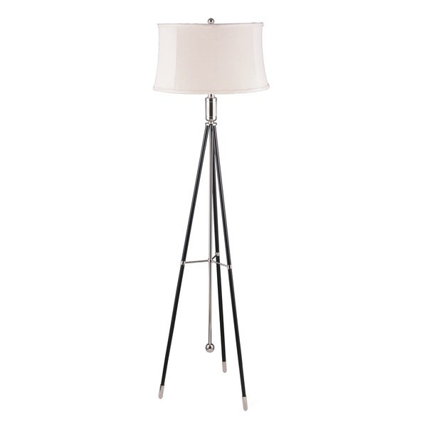 Mr. Lamp and Shade #QF-6996 61-inch Polished Nickel and Black Tripod Metal Floor Lamp