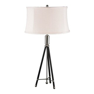 Mr. Lamp and Shade # QT to 6995 31-inch Polished Nickel and Black Tripod Metal Table Lamp