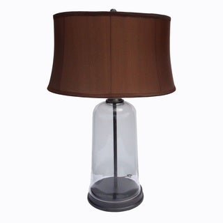 Mr. Lamp and Shade # QT to 1432 28-inch Clear glass and Mission Bronze Metal Table Lamp