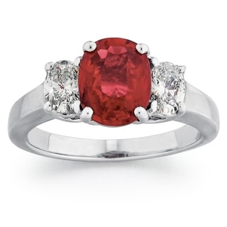 18k White Gold Ruby 5/8ct TDW Oval-cut White Diamond Ring (G-H, SI1-SI2)