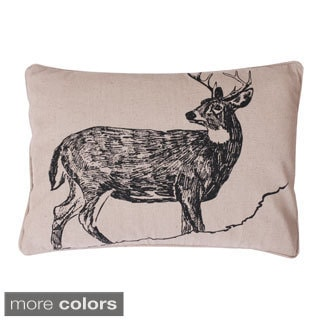 Beaded Deer Woodland Feather-filled Throw Pillow